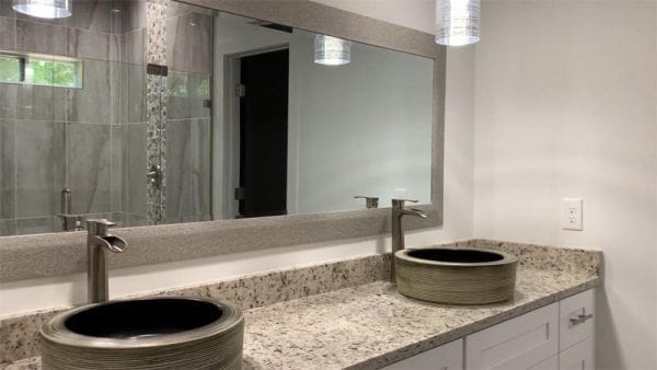 Double sink vanity with modern sinks